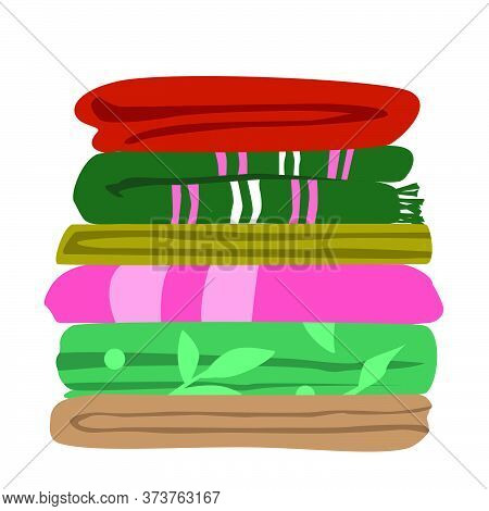 Vector Illustration Of Typical Mix Matched Worn Towels Folded Flat In Layers. Ordinary Bath Towels I