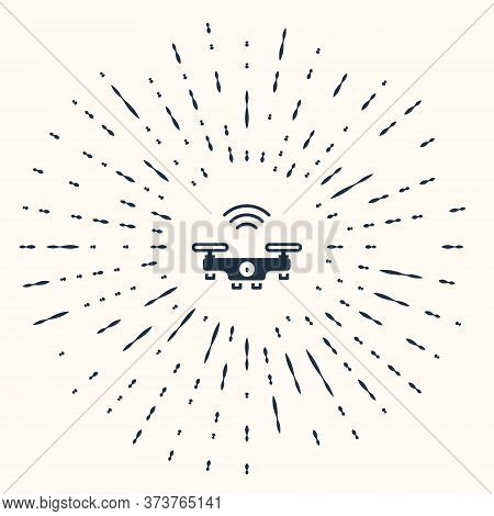 Grey Smart Drone System Icon Isolated On Beige Background. Quadrocopter With Video And Photo Camera