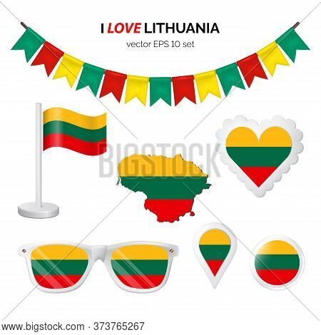 Lithuania Symbols Attribute. Heart, Flags, Glasses, Buttons, And Garlands With Civil And State Lithu
