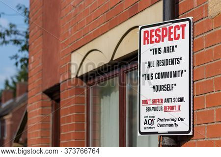 Belfast, Northern Ireland, Uk - July 31, 2019: A Respect Sign Board Placed In The Street To Fight An