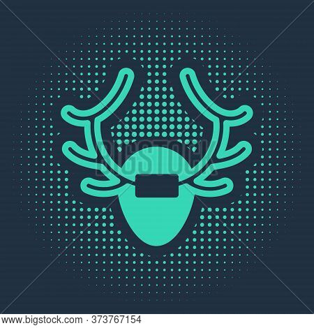 Green Deer Antlers On Shield Icon Isolated On Blue Background. Hunting Trophy On Wall. Abstract Circ