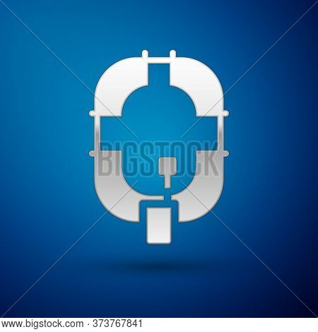 Silver Inflatable Boat Icon Isolated On Blue Background. Rafting Boat. Water Sports, Extreme Sports,
