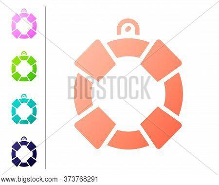 Coral Lifebuoy Icon Isolated On White Background. Lifebelt Symbol. Set Color Icons. Vector
