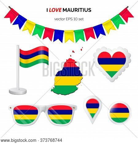 Mauritius Symbols Attribute. Heart, Flags, Glasses, Buttons, And Garlands With Civil And State Mauri