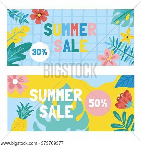 Summer Cute Sale Banner With Monstera Leaf, Flowers And Palm Leaves. Template For Social Media Banne