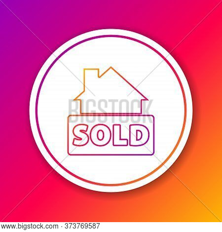 Color Line Hanging Sign With Text Sold Icon Isolated On Color Background. Sold Sticker. Sold Signboa