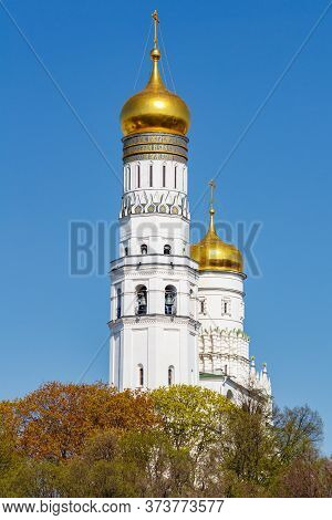 Moscow, Russia - May 01, 2019: Ivan The Great Bell-tower On The Territory Of Moscow Kremlin In Sunny