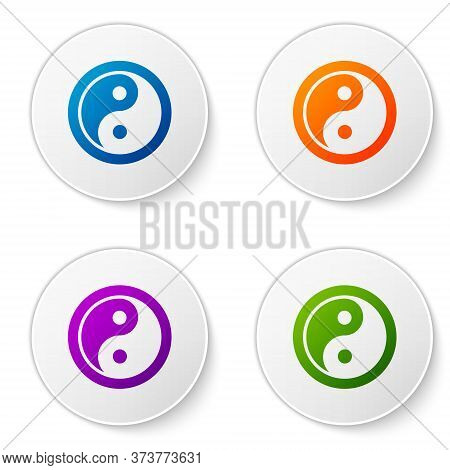 Color Yin Yang Symbol Of Harmony And Balance Icon Isolated On White Background. Set Icons In Circle