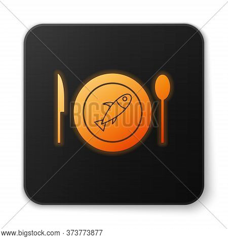 Orange Glowing Neon Served Fish On A Plate Icon Isolated On White Background. Black Square Button. V