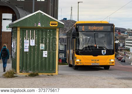 Nuuk, Greenland - August 16, 2019: Wooden Bus Stop In The Nuuk City Centre, Greenland.