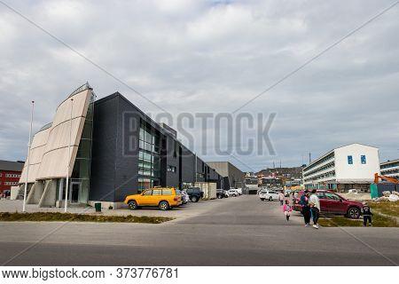 Nuuk, Greenland - August 16, 2019: Panoramic View The Cultural Center Katuak In Inspektorbakken Stre