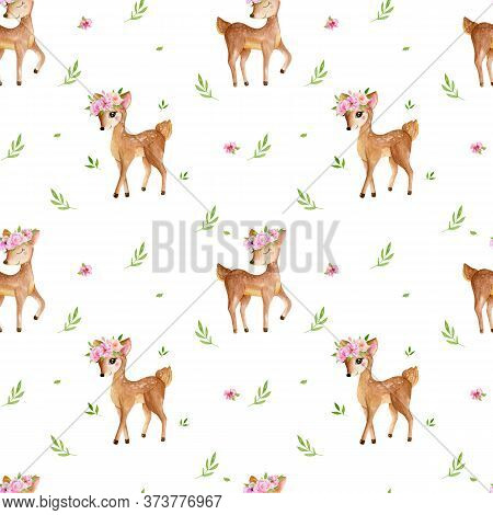 Cute Watercolor Baby Deer Animal Seamless Pattern, Nursery Isolated Illustration For Children Clothi