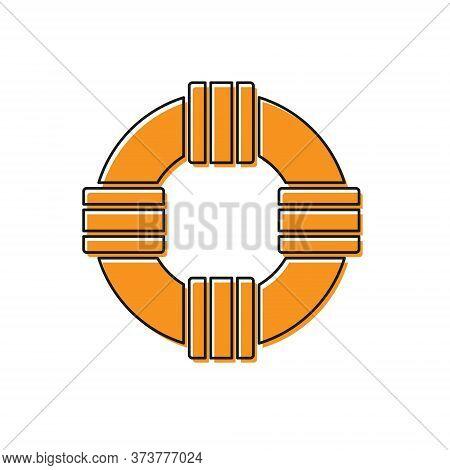Orange Lifebuoy Icon Isolated On White Background. Lifebelt Symbol. Vector.