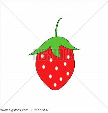 Food Allergen-strawberry. Red Strawberry Berry Vector Illustration In Flat Style Isolated On White B