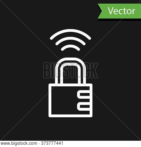 White Line Smart Safe Combination Lock Icon Isolated On Black Background. Combination Padlock. Secur