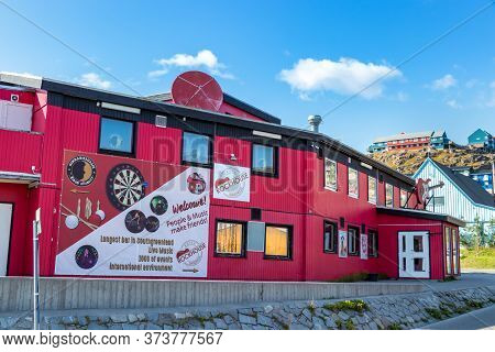 Qaqortoq, Greenland - August 14, 2019: The Famous Bar Rockyhouse, The Longest Bar In Southgreenland,