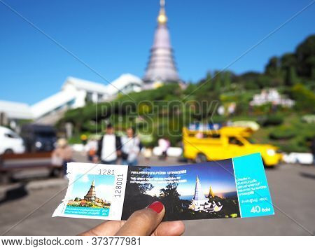 Chiangmai, Thailand - 14 January 2019 : Woman Hand Hold The Entrance Ticket To Phra Maha Dhatu Nabha