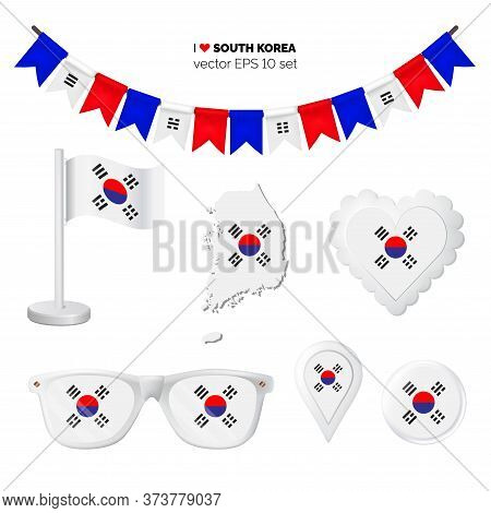 South Korea Symbols Attribute. Heart, Flags, Glasses, Buttons, And Garlands With Civil And State Sou