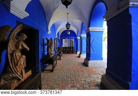 Interiors Of The Santa Catalina Monastery In Arequipa