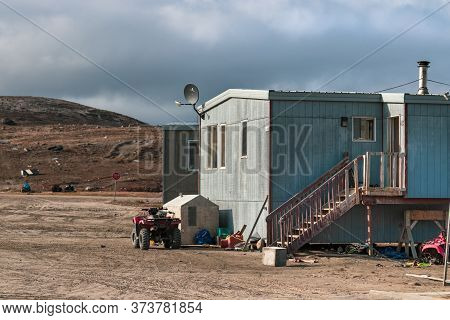 Clyde River, Baffin Island, Canada - August 20th, 2019: Residential Houses In Clyde River, Nunavut,