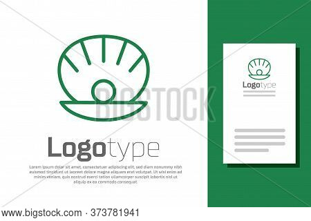 Green Line Natural Open Shell With Pearl Icon Isolated On White Background. Scallop Sea Shell. Seash