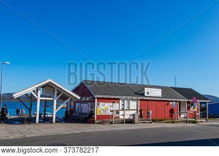 Qaqortoq, Greenland, 2019: The Fish Market - Braettet At The Coastline Of Qaqortoq, Greenland.