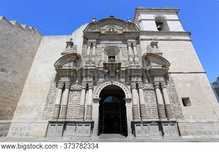 The Beautiful Facade Of The Company Church In Arequipa