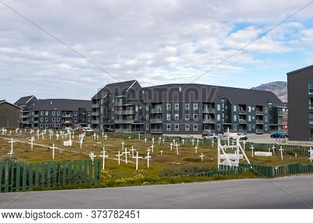 Nuuk, Greenland - August 16, 2019: Graves Cross Wooden Marks In The Nuuk Cemetery On Aqqusinersuaq S