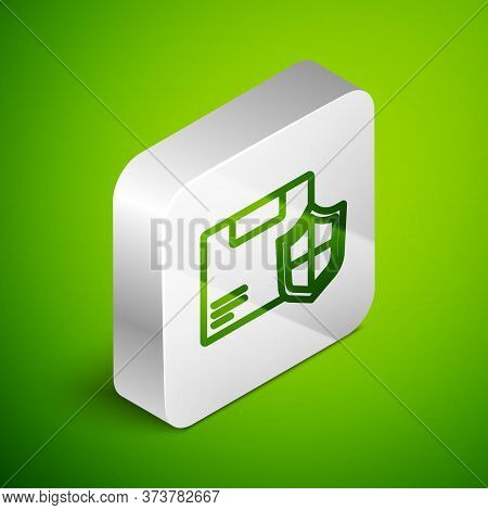 Isometric Line Delivery Security With Shield Icon Isolated On Green Background. Delivery Insurance.