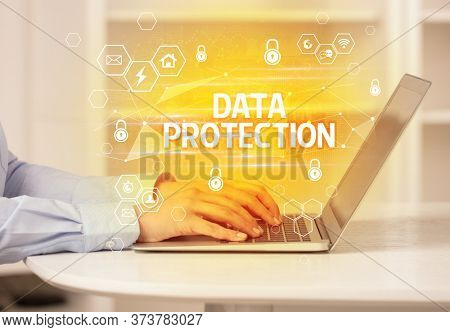 DATA PROTECTION inscription on laptop, internet security and data protection concept, blockchain and cybersecurity
