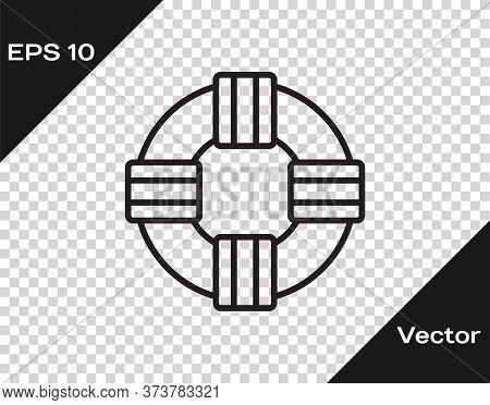 Black Line Lifebuoy Icon Isolated On Transparent Background. Lifebelt Symbol. Vector.