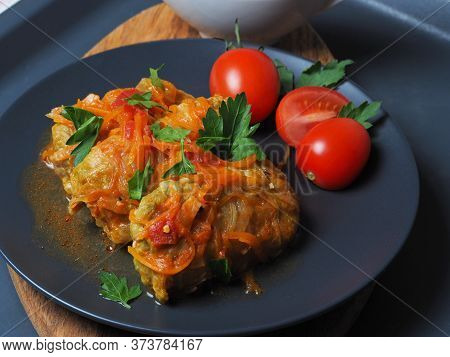 Cabbage Rolls With Meat, Rice And Vegetables. Stuffed Peking Cabbage Leaves With Meat, In Tomato Sau