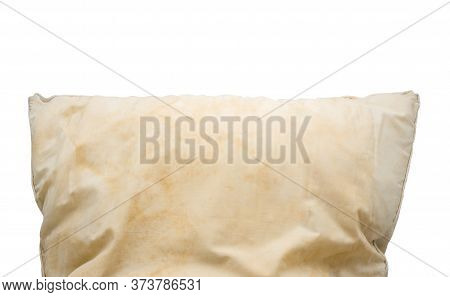 Dirty Pillow Isolated On White Background With Clipping Path