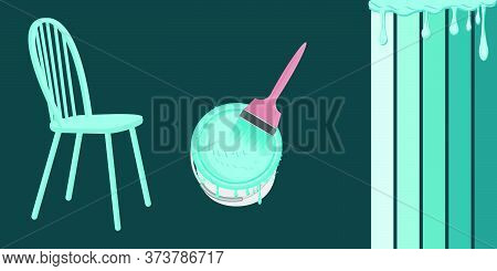Can Of Blue Paint, Brush, Chair, Drops Of Flowing Paint - Vector. Banner. Diy Home Repair.