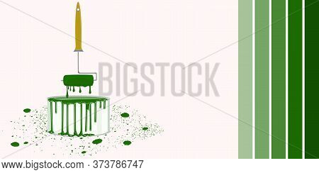 Green Paint Can, Roller, Chair, Drops Of Flowing Paint - Vector. Banner. Diy Home Repair.