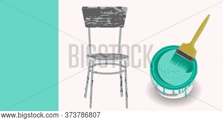 Old Shabby Chair, Green Paint Can, Brush - Vector. Banner. Diy Home Repair.