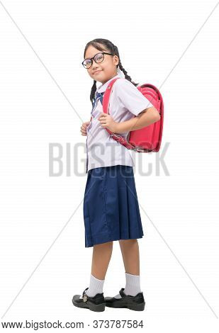 Portrait Of Cute Asian Girl Student  Wear Uniform And Carries School Bag Isolated On White Backgroun