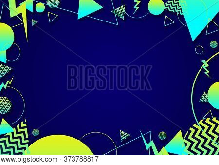A Blue, Cyan Green Retro Vaporwave 90's Style Random Geometric Shapes Border With Vibrant Neon Color