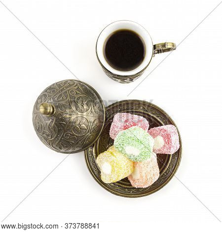 Turkish Coffee With Turkish Delight On White Background.