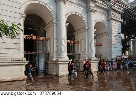 Kolkata, West Bengal, India - 16th December 2019 : The Gate Arches Of Indian Museum At Kolkata. It I