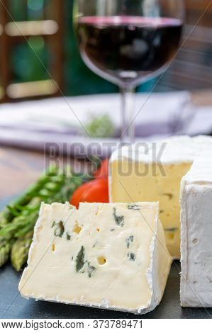 French Cheeses Collection, Piece Of Le Bleu Cow Milk Soft Blue Cheese With White Mold.