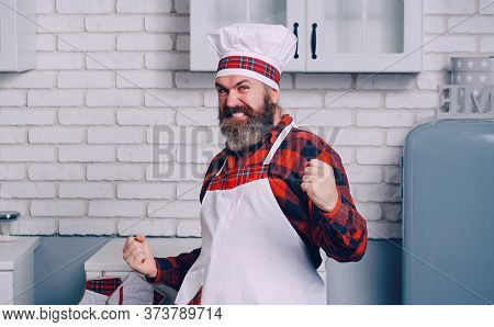 Portrait Of A Happy Chef Cook. Cook Hat. Bearded Chef, Cooks Or Baker.