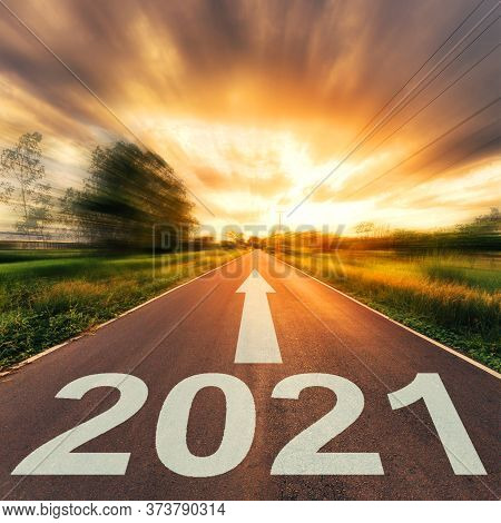 New Year Concept : Empty Asphalt Road Sunset And New Year 2021.