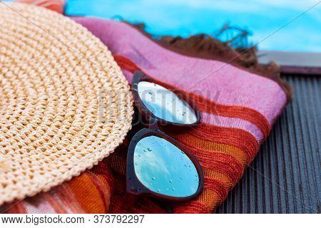 Vintage Summer Wicker Straw Beach Hat, Sun Glasses, Cover-up Beachwear Wrap Near Swimming Pool, Trop