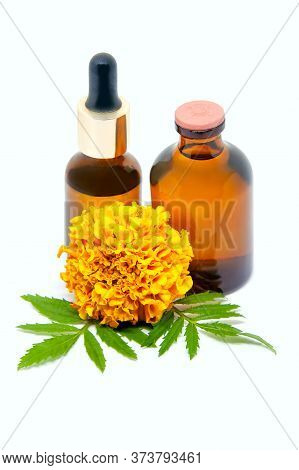 Bottles Of Tincture And Essential Marigold Oil (tagetes Flowers Extract, Tincture, Infusion). Isolat