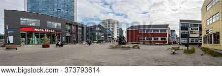 Nuuk, Greenland - August 16, 2019: Panoramic View The Commercial Center In Imaneq Street, Nuuk, Gree