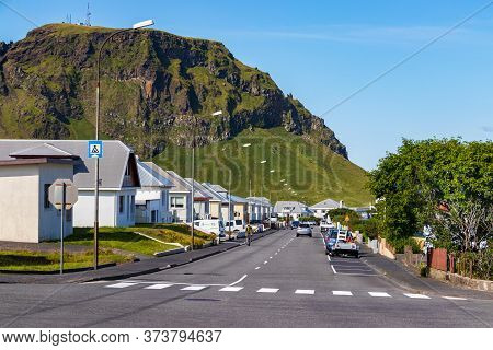 Vestmannaeyjar - Westman, Iceland - August 07th, 2019: View Of The Downtown Of Heimaey Island, Westm