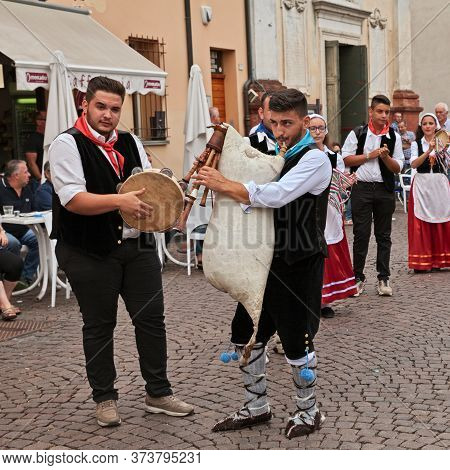 Russi, Ravenna, Italy - August 2, 2015: Musicians Of Folk Ensemble Irizema From Bova Marina, Calabri