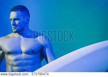 Male Bodyboard Surfing Man Good Looking Standing With Surf Board During Vacation Holidays Getaway.