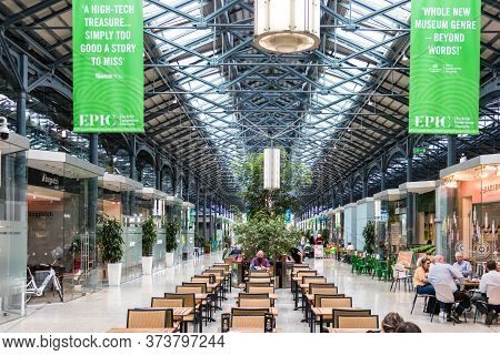 Dublin, Ireland - July 29th, 2019: The Food Court Inside The Epic Inmigration Center In Dublin, Irel
